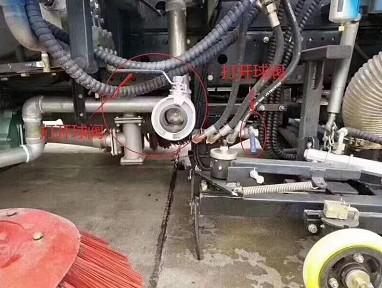 带洒水车功能的扫路车冬季排水阀门示意图