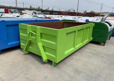 国六东风多利卡蓝牌勾臂式垃圾车垃圾箱图片